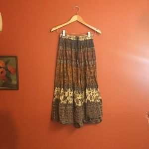 Vintage boho hippy crinkle beach summer skirt S